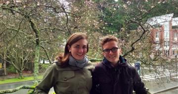 Nicolien Van Luijk and Caitlin Pentifallo, recipients of the 2013 Olympics Studies Research Grant