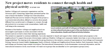 UBC Kinesiology launches Interculturalism, Health and Physical Activity Initiative in Renfrew Collingwood
