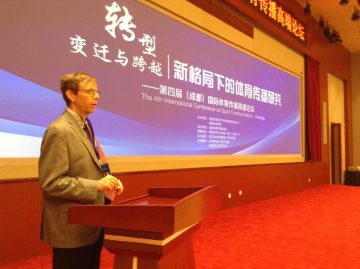 Brian Wilson presents on 'Environmental Journalism and Sport' at Chengdu Sport University